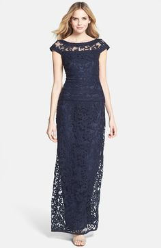 Navy lace mother of the bride evening gown