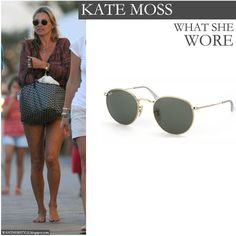 Kate Moss with round metal Ray Ban sunglasses on vacation in Formentera Spain on August 14 - Want Her Style #summer #style #sunglasses