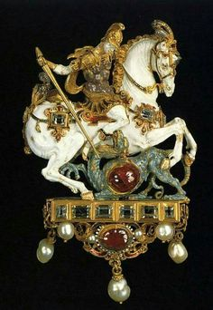 George Slaying the Dragon~ gold,enamel, pearls and gems~ Dresden, Germany, century. Renaissance Jewelry, Medieval Jewelry, Ancient Jewelry, Antique Jewelry, Vintage Jewelry, Viking Jewelry, Antique Rings, Jewelry Art, Fine Jewelry
