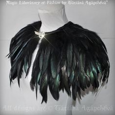 CAPELET Feathers Gothic Costume Stage Clothing 201 by TianaChe.deviantart.com on @DeviantArt