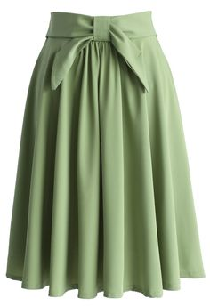 Olive Twill A-line Skirt with Bow - New Arrivals - Retro, Indie and Unique Fashion