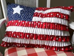 Ruffled flag pillow...I love this...looks fairly simple