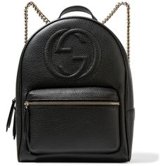 Gucci Soho textured-leather backpack (€1.300) ❤ liked on Polyvore featuring bags, backpacks, backpack, accessories, gucci, black, day pack backpack, zipper bag, zip bags and gucci knapsack