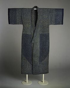 Sashiko kimono, mid-19th century, Japan. Indigo-dyed plain-weave cotton, quilted and embroidered with white cotton thread. MET Museum (Purchase, Mrs. Jackson Burke Gift, 1979)