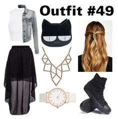 """""""Outfit #49"""" by girlybunny ❤ liked on Polyvore featuring Topshop, LE3NO, Natasha, Converse and Chicnova Fashion"""