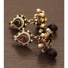 Golden & White Embellished Earrings
