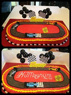 """Came up with this race track/race car cake for my brother's go-kart birthday. Used an 8"""" round and an 8"""" square, cut the round in half and stuck it on either end of the square to get the oval shape. Race Car Birthday, Birthday Boys, Birthday Cakes, Birthday Ideas, Birthday Parties, Racing Cake, Race Car Cakes, Party Themes, Party Ideas"""