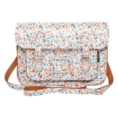 Zatchels Leather Satchel (68.435 CLP) ❤ liked on Polyvore featuring bags, handbags, purses, leather, white floral, women, women's bags, satchel purse, satchels and leather satchel handbags