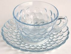 Depression Glassware | Anchor Hocking Blue Bubble Cups & Saucers Fenton Glassware, Vintage Glassware, Rustic Primitive Decor, Vintage Dinnerware, Glass Dishes, Carnival Glass, Cup And Saucer, Tea Cups