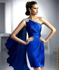 Mavi Tek Omuz Nişanlık | Sarı Laleler: Moda'nın Rengi