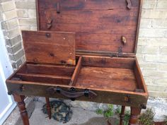 repurposed carpenters toolbox / table