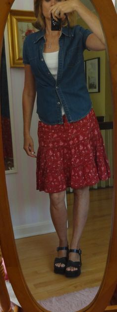 Dressing over 50 - love red with denim - and an alternative to capris and shorts