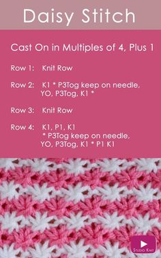 How to Knit the Daisy Flower Stitch with Free Pattern + Video Tutorial by Studio Knit via @StudioKnit