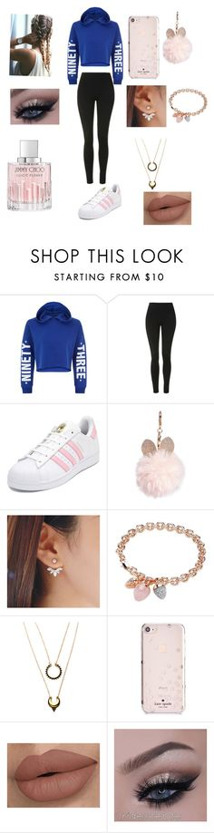 """""""Untitled #232"""" by najmakhalif ❤ liked on Polyvore featuring beauty, New Look, Topshop, adidas, GUESS, Buckley, WithChic, Kate Spade and Jimmy Choo"""