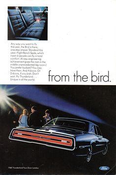 1968 Ford Thunderbird 2 & 4 Door Hardtop Page 2 USA Original Magazine Advertisement Vintage Advertisements, Vintage Ads, Mercury Capri, Ford Ltd, Car Brochure, Ford Torino, Ford Classic Cars, Ford Fairlane, Ford Thunderbird