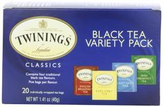 Twinings Variety Pack of Four Flavors, Tea Bags, 20-Count Boxes (Pack of 6) - http://teacoffeestore.com/twinings-variety-pack-of-four-flavors-tea-bags-20-count-boxes-pack-of-6/