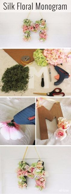 Best DIY Room Decor Ideas for Teens and Teenagers - DIY Silk Floral Monogram - Best Cool Crafts, Bedroom Accessories, Lighting, Wall Art, Creative Arts and Crafts Projects, Rugs, Pillows, Curtains, Lamps and Lights - Easy and Cheap Do It Yourself Ideas for Teen Bedrooms and Play Rooms http://diyprojectsforteens.com/diy-room-decor-ideas-teens #artsandcraftsstore, #artsandcraftslamp