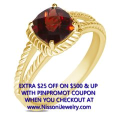 NissoniJewelry.com presents - Garnet Rope Ring in 10k Yellow Gold    Model Number:FRV6602-Y0GA    Price:$239.99      https://nissonijewelry.com/jewelry/garnet-rope-ring-in-10k-yellow-gold/frv6602-y0ga.html