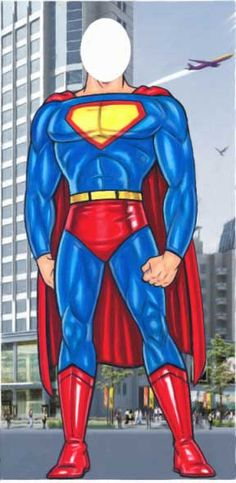 Superman head-in-the-hole/face-cut-out