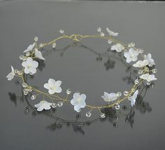 Bridal white flower tiara flower crown bridal hair by PrettyNatali, $49.00