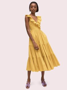 5793a55ccbc1 Kate Spade Poplin Ruffle Tiered Dress, Chartreuse - Size 0 Chartreuse Dress,  Tiered Skirts