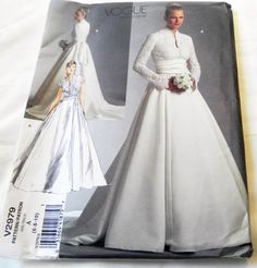 "Wedding Dress Bridal Gown fit and flare Princess Kate long cap sleeves sewing pattern Vogue 2979 Size 6 8 10 Bust 30.5 31.5 32.5"" UNCUT FF by retroactivefuture on Etsy"
