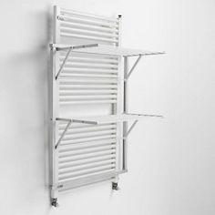 Veggmontert tørkestativ Klapp - 2 nivåer - hvit Diy Clothes Rack Cheap, Wall Mounted Drying Rack, Drying Rack Laundry, Led Licht, Clothes Line, Wooden Diy, Aluminium, Solid Wood, Storage
