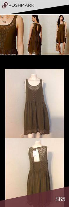 Anthro Lilka Matepe Dress Flowy Boho Lace S Cute Lilka drsss. Two piece with a slip underneath. Boho lace flowing style. Color is Moss in size Small. Brand new with tags. Anthropologie Dresses