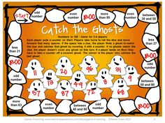 FREEBIE - Try this Catch the Ghosts Halloween Math Board Games from Games 4 Learning - Just print and play!