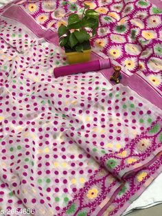 Sarees Trendy Cotton Jamdani Women's Saree  *Fabric* Saree - Cotton Jamdani, Blouse - Cotton Jamdani  *Size* Saree Length - 5.50 Mtr , Blouse Length - 0.80 Mtr  *Color* Pink  *Work* Jamdani This Idol Is Only For Catalog Purpose  *Note* This Flower Vase Is Only For Catalog Purpose  *Sizes Available* Free Size *   Catalog Rating: ★4.1 (173)  Catalog Name: Free Mask Vardaniya Printed Jamdani Cotton Sarees With Polka Dot CatalogID_360388 C74-SC1004 Code: 3701-2664656-