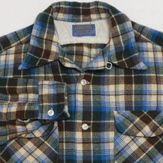 Vtg-Mens-PENDLETON-Wool-L-S-Shirt-LARGE-Blue-Plaid-LOOP-COLLAR-Flap-Pockets-60s