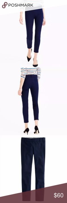 """J. CREW Minnie Ankle Pants Stretch Twill Navy Blue It's called the """"magic pant"""" around the office for a reason: It's sleek, chic and slim fitting, with an exactly-right-length leg. And it goes with just about everything.  Cotton with a hint of stretch. Side zip. Dry clean. Sits just above hip. Fitted through hip and thigh, with a skinny, cropped leg.  Size 10 Tall - inseam is 29"""" J. Crew Pants Ankle & Cropped"""