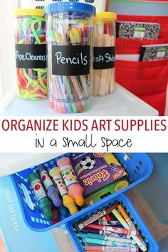 Organize all your kids art supplies and create a fun craft area even if you don't have a lot of room. Love these easy and inexpensive tips for organizing kids craft supplies!