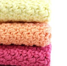 Cotton Dishcloths Crochet Sherbert Colors //