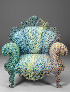 """Alessandro Mendini, """"Proust"""" armchair, 1980s. Combines French baroque chairs with a pattern inspired by Paul Signac's pointillism. It is the first of the famous series of """"re-designs"""". This one was custom made by Atelier Mendini in 1991 for Robert Wilson.Design is fine. History is mine."""