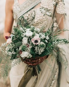 For the bride's bouquet at this camp-inspired wedding, used a mix of white flowers and greenery, with a few pink blooms… Diy Wedding Bouquet, Spring Wedding Flowers, White Wedding Bouquets, Wedding Flower Arrangements, Bride Bouquets, Floral Wedding, Wedding Dresses, Green Wedding, Wedding Shoes