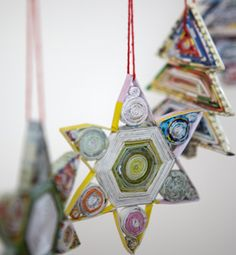 This 'Star of David' would be a perfect Hanukah gift. ♥♥♥ Previous pinner posted: Recycled Newspaper Decorations.
