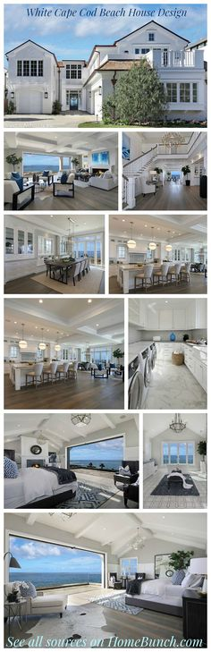 This is my dream home, I am in love w the open floor design White Cape Cod Beach House Design. See all sources and complete house tour on Home Bunch Style At Home, Cape Cod Beaches, Villa Plan, Dream Beach Houses, Hamptons Beach Houses, Miami Beach House, House Goals, Coastal Style, Coastal Cottage