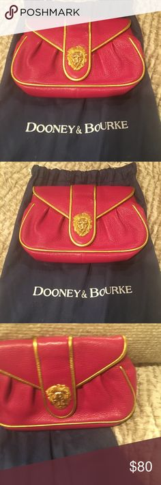 Vintage Dooney & Burke pink and gold clutch. Pink clutch with lion clasp in gold. Perfect for going out! Dooney & Bourke Bags Clutches & Wristlets