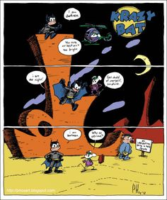 Batman in the style of Krazy Kat. | Community Post: 13 Classic Comic Strips Redrawn With Comic Book Superheroes