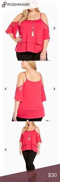 Lace Trim Cold Shoulder Top Brand New torrid Tops Blouses