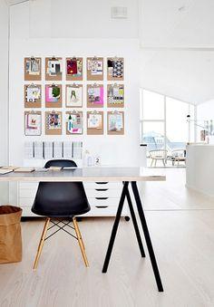 Kindertekeningen, knipsels, en inspiratieplaatjes geef je toch een hele nette plek, door ze op klemborden te hangen.