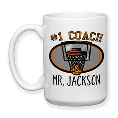 Coffee Mug, Number One #1 Sports Best Basketball Coach Gift Name Personalized Monogram, Gift Idea, Large Coffee Cup 15 oz