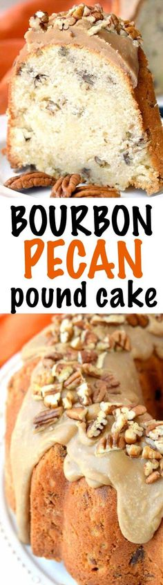 Glazed Bourbon Pecan Pound Cake-Tender, Rich Pound Cake loaded with Pecans and a big dose of Bourbon all topped off with a thick Caramel Glaze!