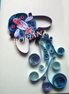Handmade Quilling card Aquarius by GermanistikArt on Etsy, $7.50