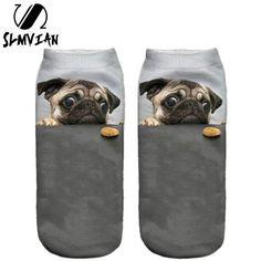 3D Print Pug Dog Socks - Unisex Low Cut Ankle Socks