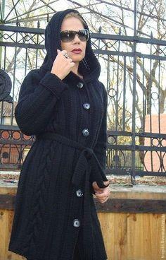 Купить Пальто- кардиган с капюшоном - чёрный, пальто женское, пальто вязаное, пальто с капюшоном