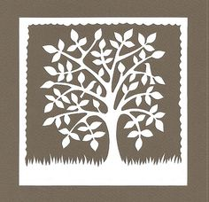 Two birds in a square tree papercutting