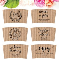 A custom coffee sleeve stamp is perfect to personalize your wedding. You can use this stamp as the finishing touch to your wedding festivities! You can choose any of these stamps or choose any other wedding stamp I offer. Southern Paper & Ink $24.95