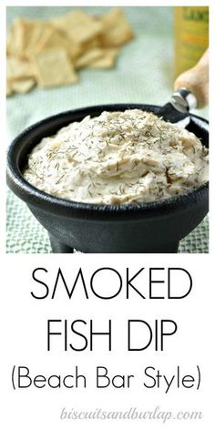 Smoked Fish Dip is so easy and will bring back memories of your beach trip. From BiscuitsandBurlap. Seafood Appetizers Seafood Appetizers Appetizers Appetizers for a crowd Appetizers parties Seafood Appetizers, Appetizer Dips, Seafood Recipes, Appetizer Recipes, Party Appetizers, Smoked Tuna Dip, Smoked Trout Dip, Smoked Mullet Dip Recipe, Smoked Salmon